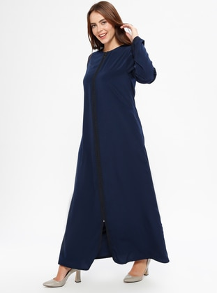 Navy Blue - Crew neck - Unlined - Plus Size Abaya