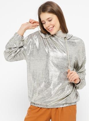 Brown - Gold - Sweat-shirt
