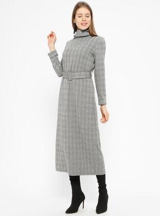 Black - Gray - Plaid - Polo neck - Unlined - Dresses