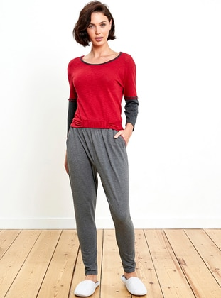 Red - Anthracite - Crew neck - Pyjama