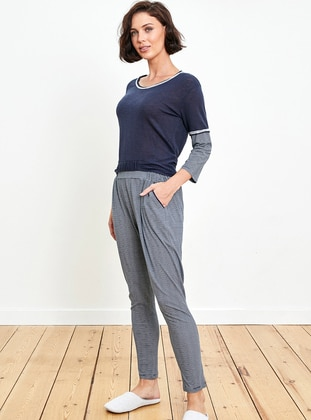 Navy Blue - Anthracite - Crew neck - Pyjama