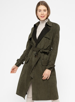 Khaki - Unlined - Shawl Collar - Trench Coat