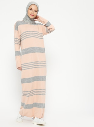 Gray - Powder - Stripe - Crew neck - Unlined - Wool Blend - Acrylic -  - Dresses