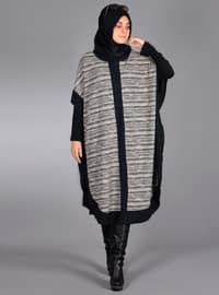 Black - Multi - Unlined - Wool Blend - Acrylic - Poncho
