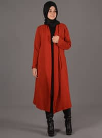 Tan - Wool Blend - Acrylic - Cardigan
