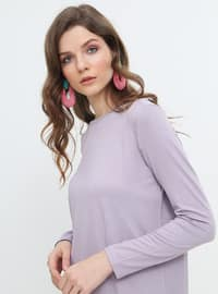 Lilac - Crew neck - Viscose - Tunic