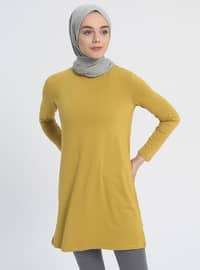 Green - Olive Green - Crew neck - Tunic