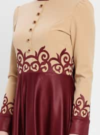 Maroon - Multi - Crew neck - Unlined - Dresses