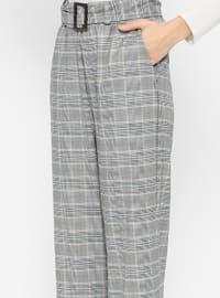 Blue - Gray - Plaid - Pants