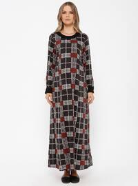 Terra Cotta - Multi - Crew neck - Unlined - Maternity Dress