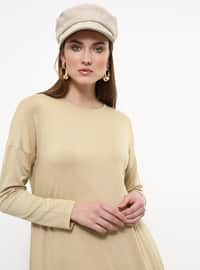 Beige - Crew neck - Viscose - Tunic