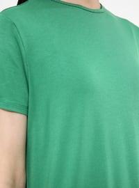 Green - Crew neck - Viscose - Tunic