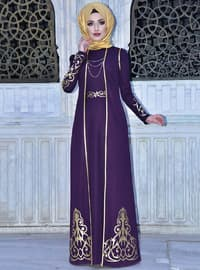 Purple - Multi - Unlined - Crew neck - Muslim Evening Dress