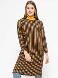 Tan - Khaki - Stripe - Crew neck - Tunic