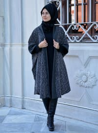 Black - Unlined - Wool Blend - Acrylic - Poncho