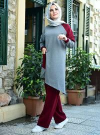 Gray - Maroon - Unlined - Suit