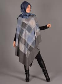 Blue - Gray - Unlined - Wool Blend - Acrylic - Poncho