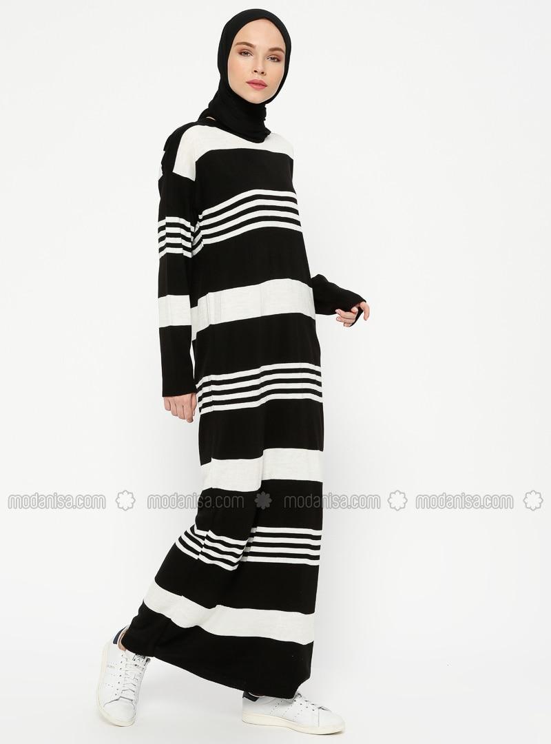 nouvelle arrivee 91ca9 de9ee Noir - Ecru - A rayures - Col rond - Tissu non doublé - Mélange de laine -  Acrylique - Maille - Robe