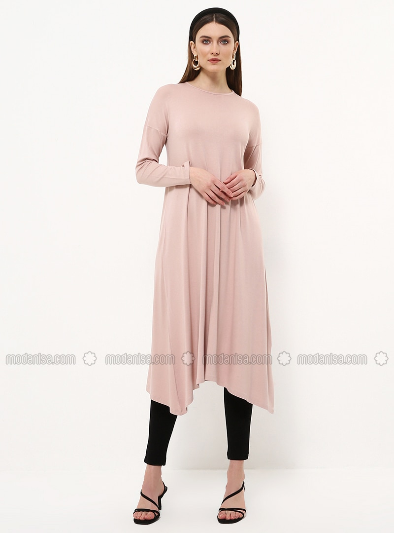 Pink - Crew neck - Viscose - Tunic