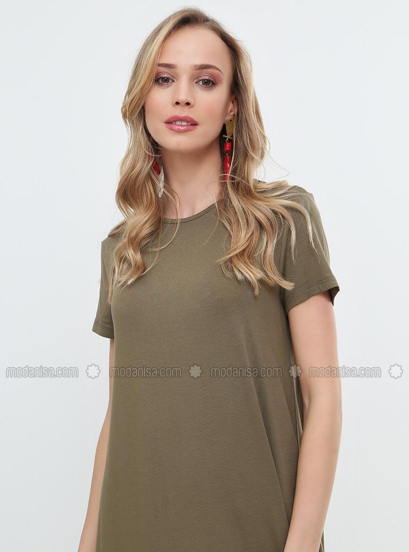 Khaki - Crew neck - Unlined - Viscose - Dresses