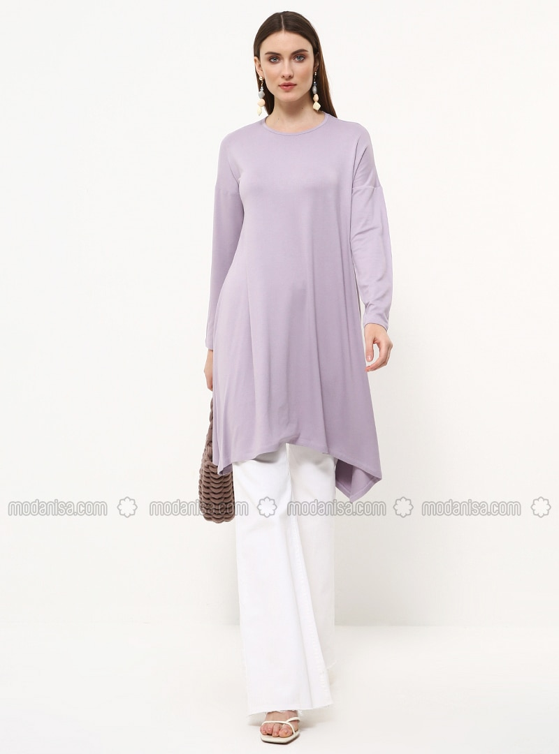 Purple - Crew neck - Viscose - Tunic