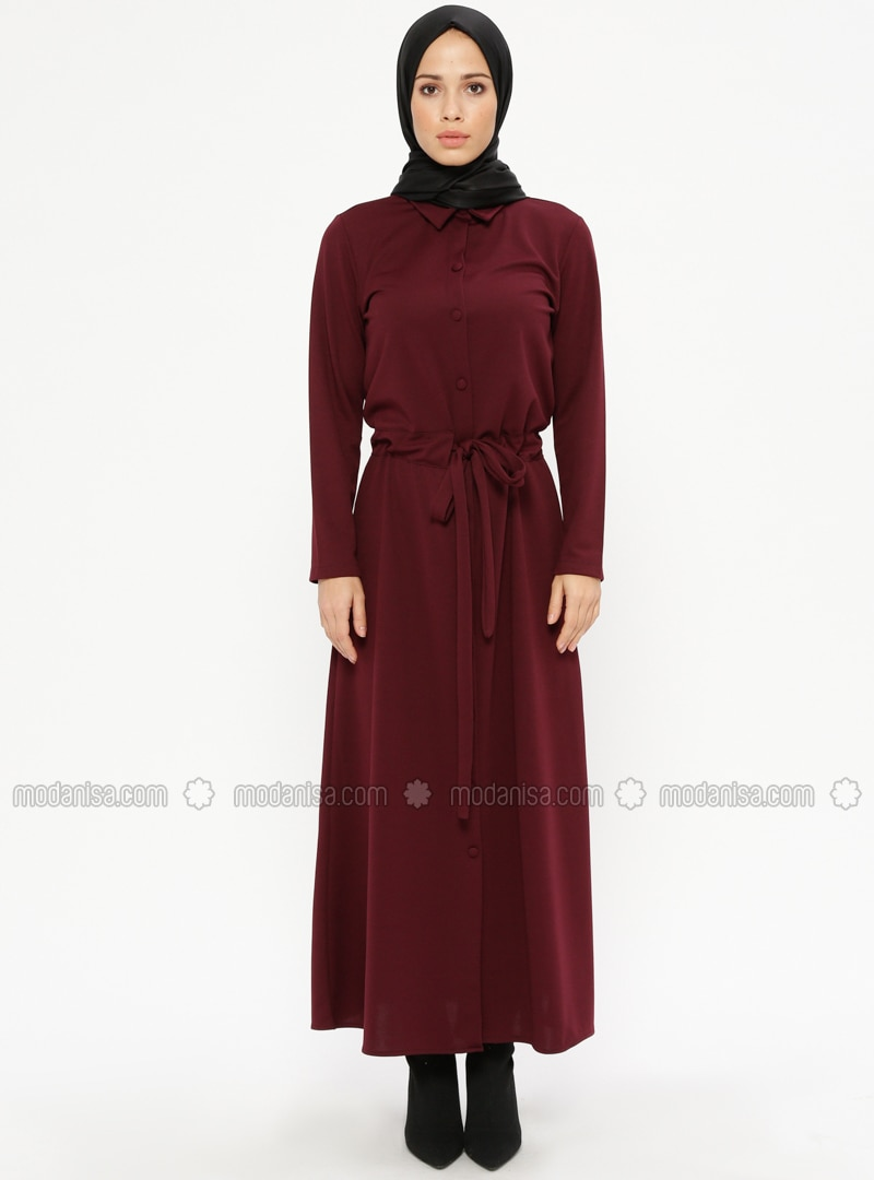 Maroon   Point Collar   Unlined   Dresses by Modanisa