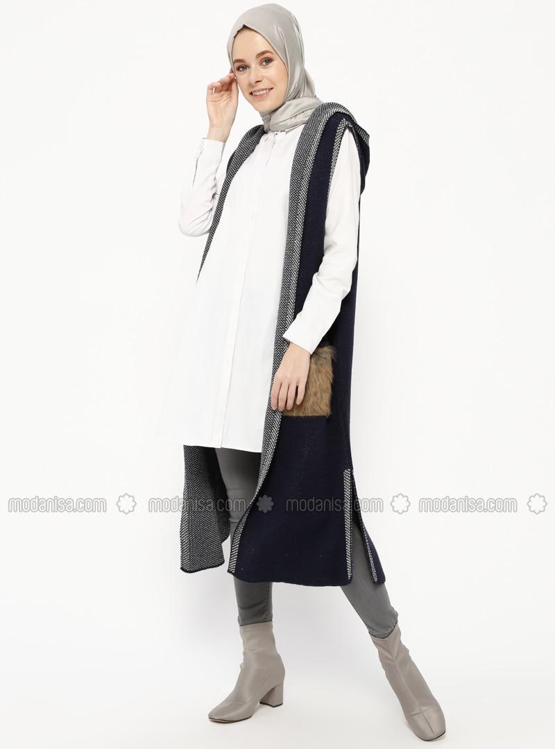 Navy Blue - Multi - Unlined - Acrylic -  - Vest