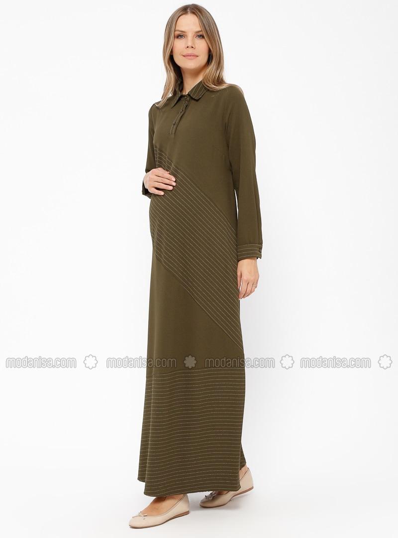 c976ffc71abf3 Khaki - Stripe - Point Collar - Unlined - Maternity Dress. Fotoğrafı  büyütmek için tıklayın