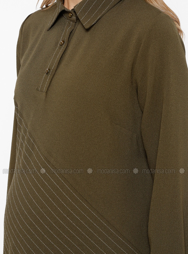 7c04c68f56427 Khaki - Stripe - Point Collar - Unlined - Maternity Dress