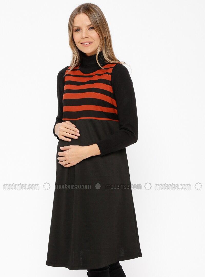Terra Cotta - Crew neck - Stripe - Maternity Tunic