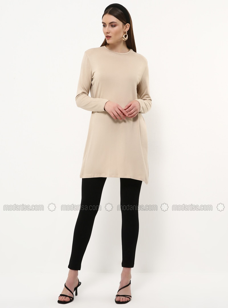 Beige - Crew neck - Tunic