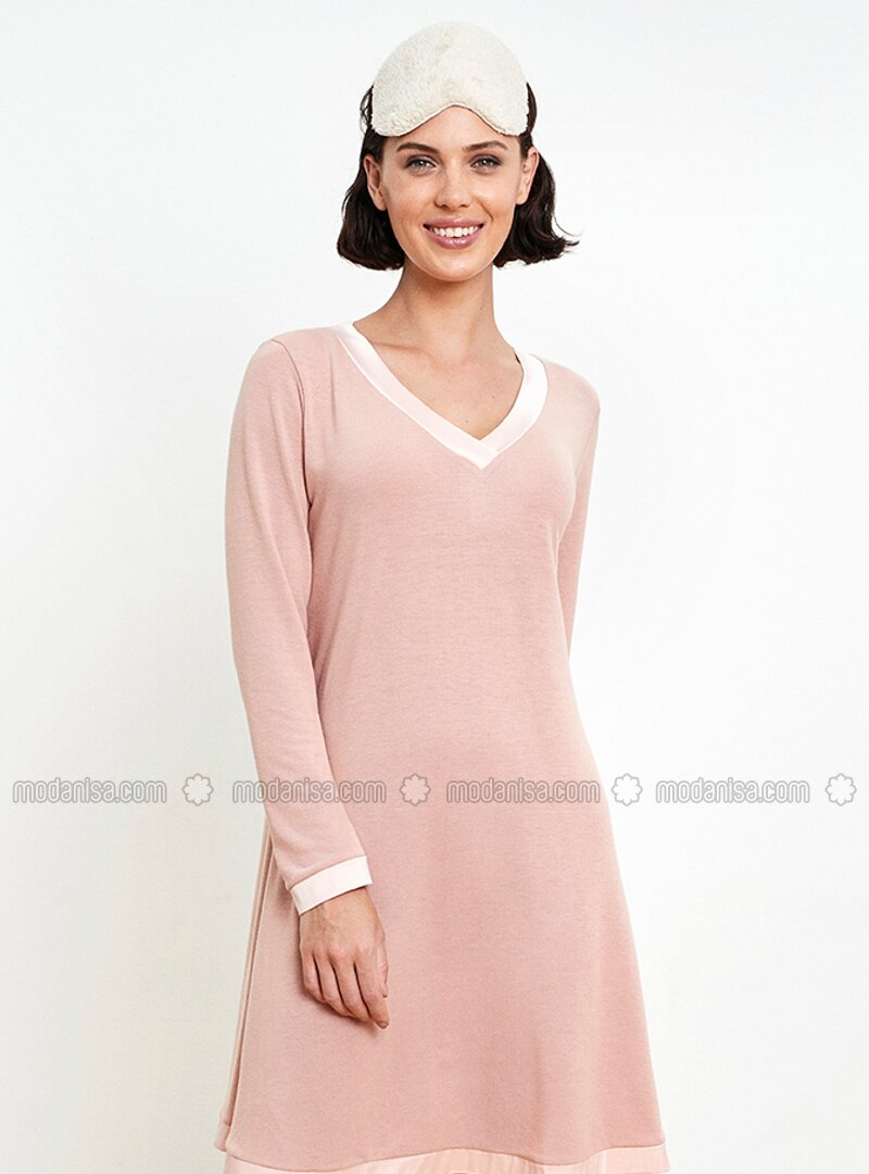 Pink - Crew neck - Nightdress