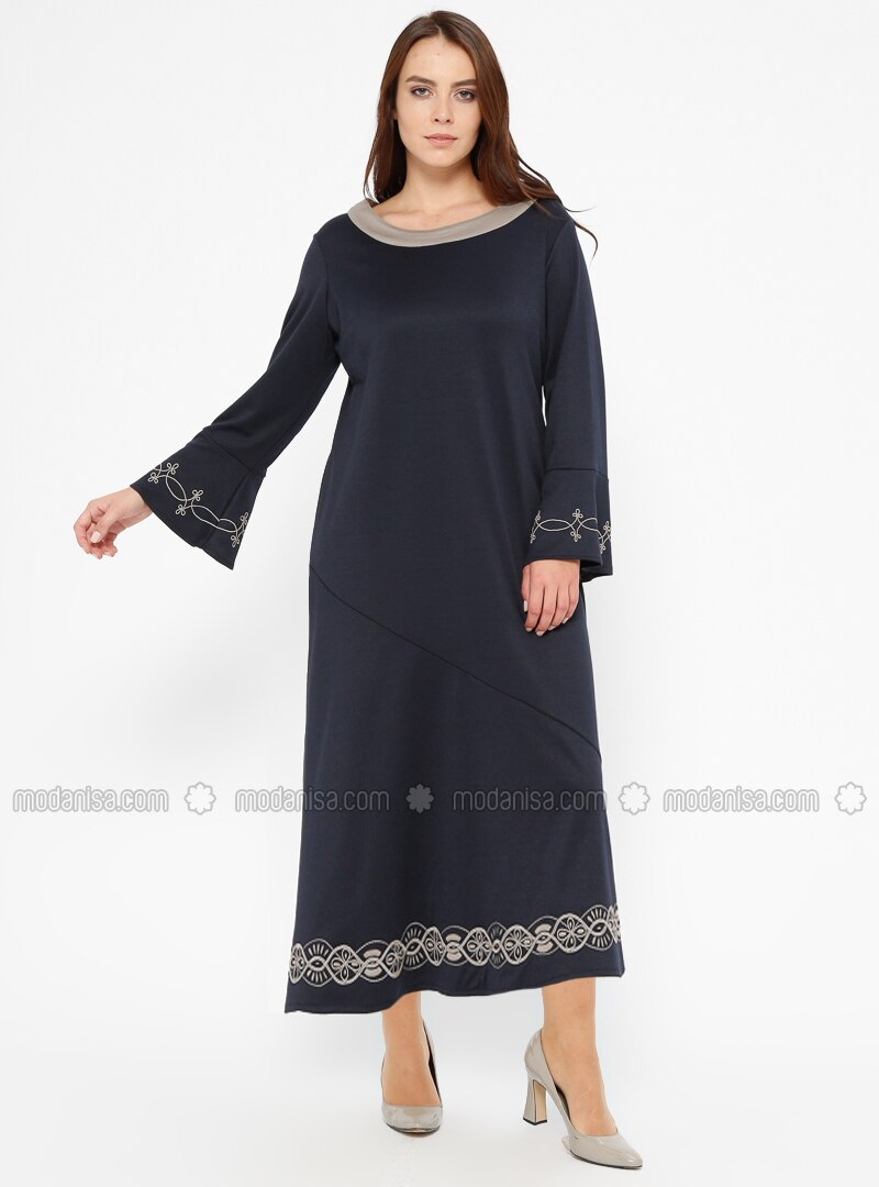 Navy Blue - Unlined - Boat neck - Plus Size Dress