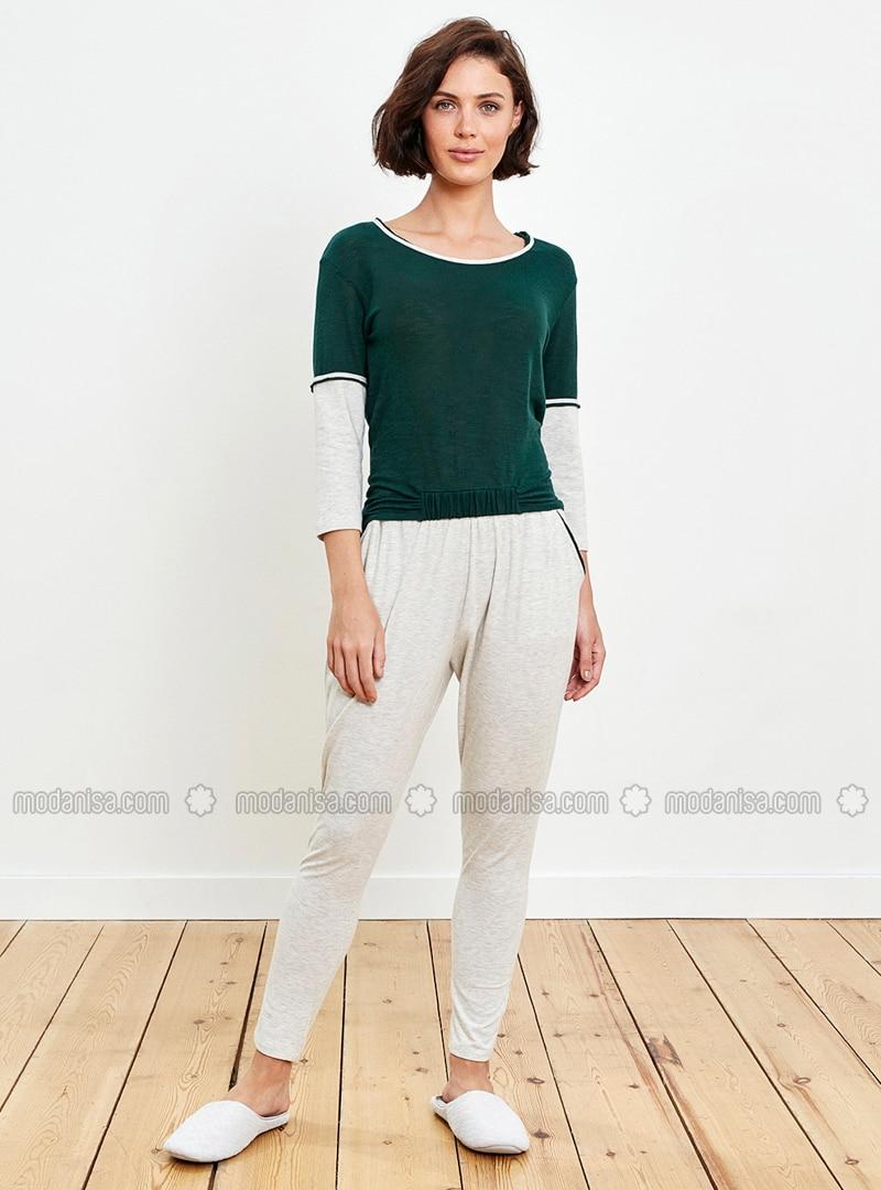Green - Ecru - Crew neck - Pyjama