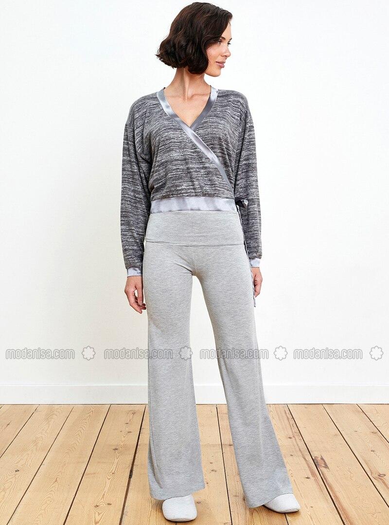 Gray - Crew neck - Pyjama