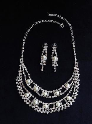 Takıştır Bijuteri Abiye Kolye Küpe Set - Gümüş