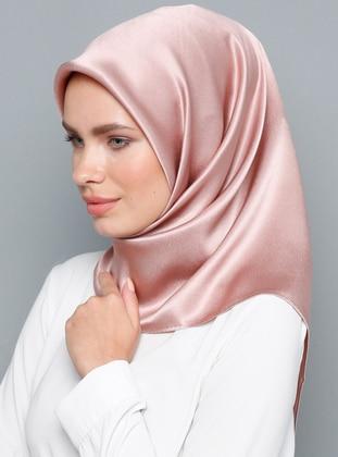 Pink - Plain - %100 Silk - Satin - Crepe - Scarf