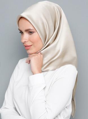 Beige - Plain - %100 Silk - Satin - Crepe - Scarf