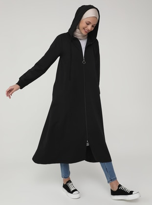 Black - Unlined - Cotton - Topcoat