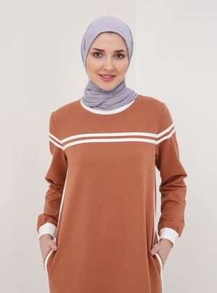 Tan - Terra Cotta - Crew neck - Unlined - Dress