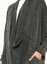 Gray - V neck Collar - Unlined - Abaya