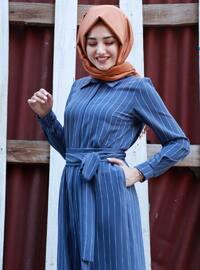 Blue - Stripe - Unlined - Point Collar - Jumpsuit