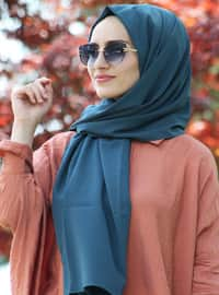 Green - Petrol - Plain - Crepe - Shawl