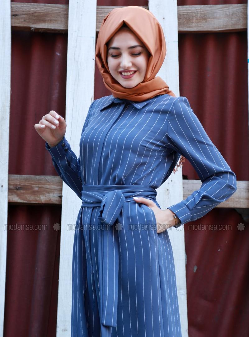 7c6142ce01fa Blue - Stripe - Unlined - Point Collar - Jumpsuit