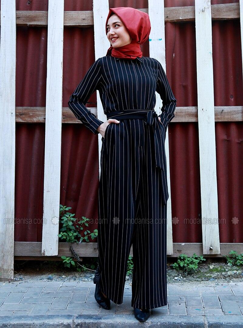 572d21d0a610 Black - Stripe - Unlined - Point Collar - Jumpsuit