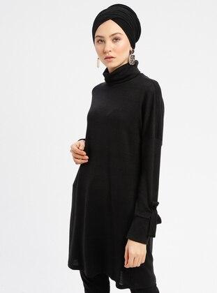 Black - Polo neck - Cotton -  - Tunic