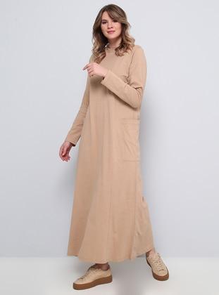 Camel - Unlined - Crew neck - Plus Size Dress