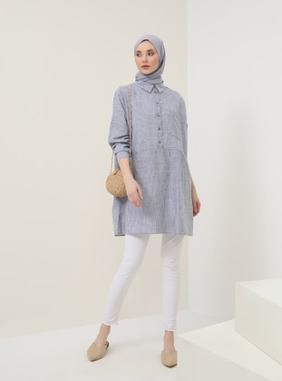 Navy Blue - Stripe - Point Collar - Cotton - Tunic