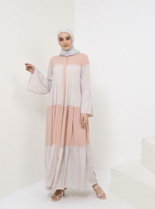 Pink - Button Collar - Unlined - Viscose - Dress