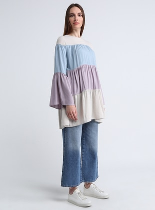 Blue - Indigo - Crew neck - Viscose - Tunic